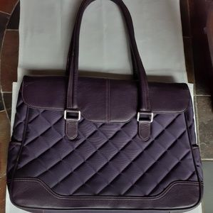 "Knomo ""Sienna"" purple leather computer bag"